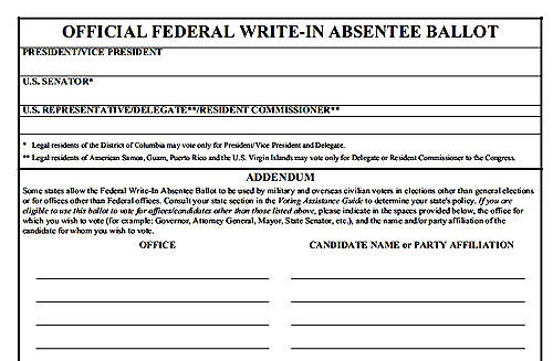 federal write in absentee ballot The federal write-in absentee ballot (fwab) is a write-in ballot for use by overseas american citizens under the uniformed and overseas citizens absentee voting act, .