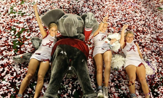 the-mascot-and-cheerleaders-of-the-alabama-crimson-tide-celebrate-after-defeating-notre-dame-42-14