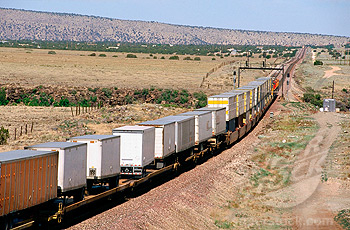 Trailers on express freight train, Arizona, USA